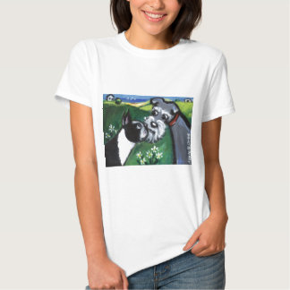 Boston Terrier & Schnauzer sniff T-shirt