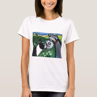 Boston Terrier & Schnauzer sniff T-Shirt