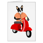 Boston Terrier  Scooter Greeting Card