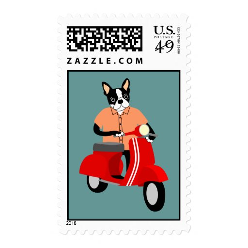 Boston Terrier  Scooter Stamps