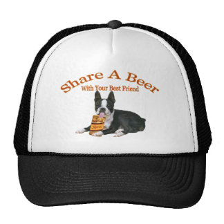 Boston Terrier Share A Beer Apparel Hats