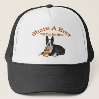 Boston Terrier Share A Beer Apparel Trucker Hat