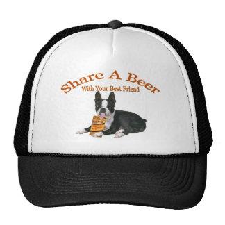 Boston Terrier Share A Beer Apparel Trucker Hat