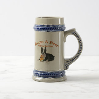 Boston Terrier Share A Beer Gifts 18 Oz Beer Stein