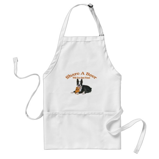 Boston Terrier Share A Beer Gifts Adult Apron