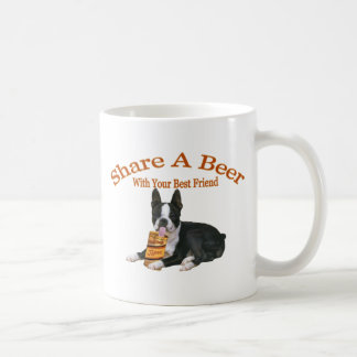 Boston Terrier Share A Beer Gifts Classic White Coffee Mug