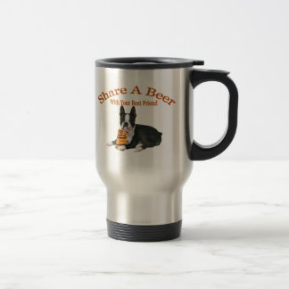 Boston Terrier Share A Beer Gifts 15 Oz Stainless Steel Travel Mug