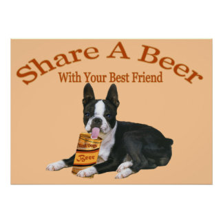 Boston Terrier Shares A Beer Poster