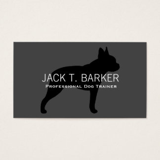 Boston Terrier Silhouette Black on Grey Business Card
