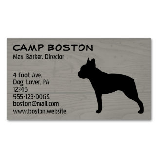 Boston Terrier Silhouette Magnetic Business Card