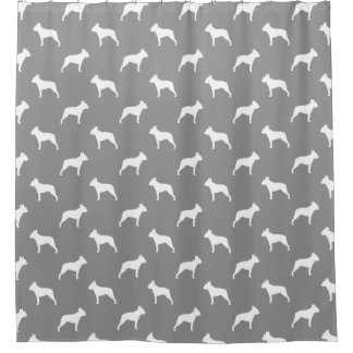 Boston Terrier Silhouettes Pattern Grey Shower Curtain