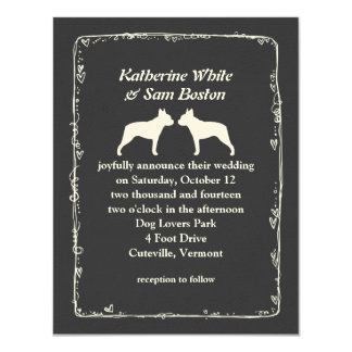 Boston Terrier Silhouettes Wedding Card