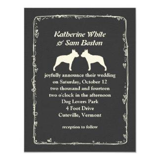 "Boston Terrier Silhouettes Wedding 4.25"" X 5.5"" Invitation Card"