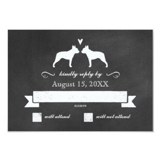 Boston Terrier Silhouettes Wedding Reply RSVP Card