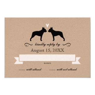 Boston Terrier Silhouettes Wedding RSVP Card