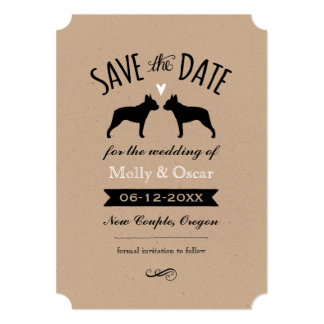 Boston Terrier Silhouettes Wedding Save the Date Card