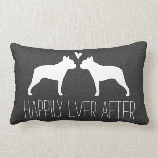 Boston Terrier Silhouettes with Heart and Text Lumbar Pillow