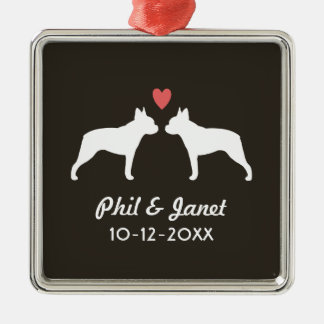 Boston Terrier Silhouettes with Heart and Text Metal Ornament