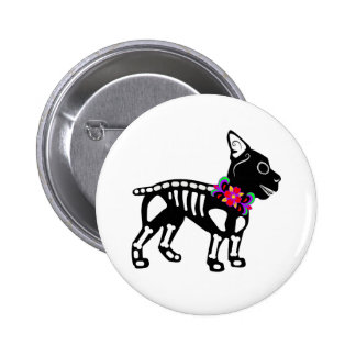 Boston Terrier Skeleton Pinback Button