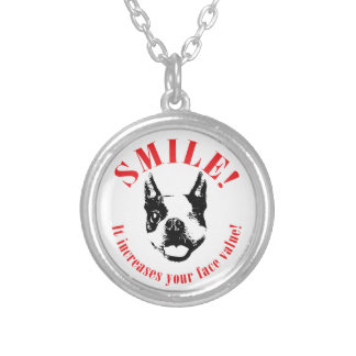 Boston Terrier Smile - Face Value Round Pendant Necklace