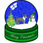 boston terrier snow globe statuette