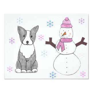 Boston Terrier & Snowman Card