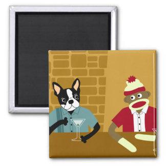 Boston Terrier & Sock Monkey 2 Inch Square Magnet