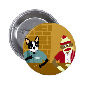 Boston Terrier & Sock Monkey Button