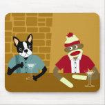 Boston Terrier & Sock Monkey Mouse Pad
