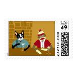 Boston Terrier & Sock Monkey Postage Stamp