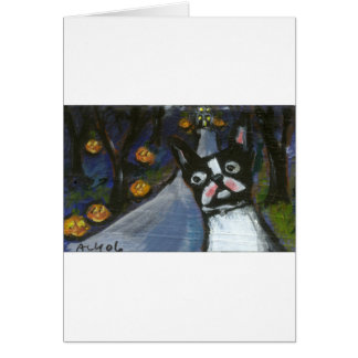 Boston Terrier spooky halloween Card