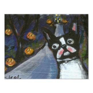 Boston Terrier spooky halloween Card