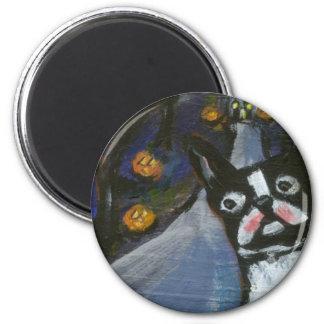 Boston Terrier spooky halloween Fridge Magnets