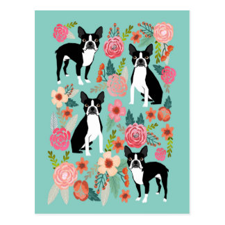 Boston Terrier Spring flowers -cute boston terrier Postcard