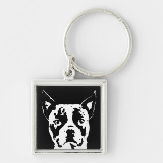 Boston Terrier Square Metal Keychain