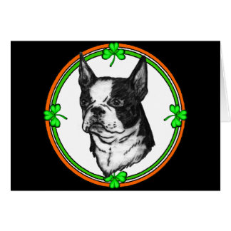Boston Terrier St. Pattys Card
