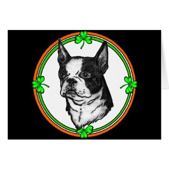 Boston Terrier St. Pattys Card