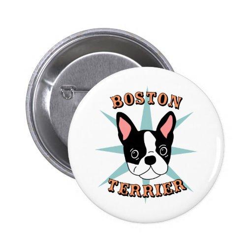 Boston Terrier Starburst Pinback Buttons