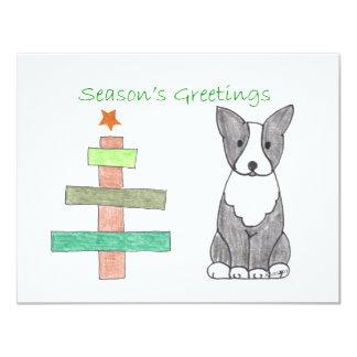Boston Terrier Stick Tree Card