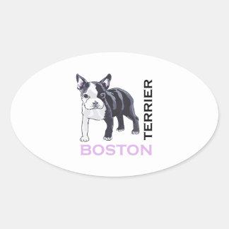 BOSTON TERRIER OVAL STICKERS
