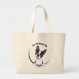 Boston Terrier su todo alrededor yo Bolsas Lienzo