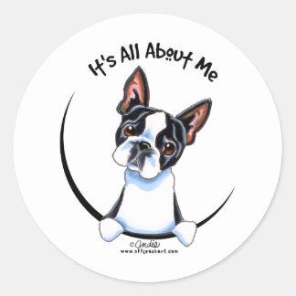 Boston Terrier su todo alrededor yo Etiqueta