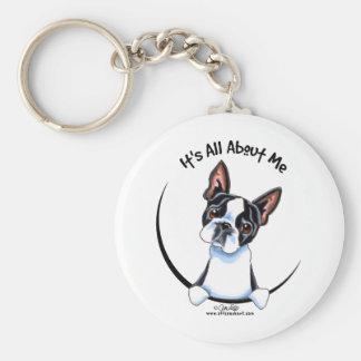 Boston Terrier su todo alrededor yo Llavero Redondo Tipo Pin
