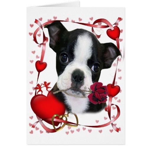 Boston Terrier subió para la madre Tarjeta De Felicitación