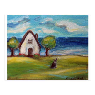 Boston Terrier summer cottage Postcard