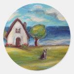 Boston Terrier summer cottage Classic Round Sticker