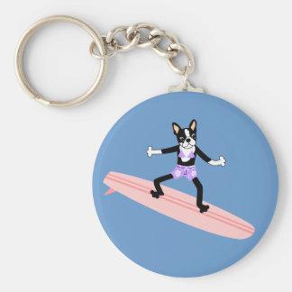 Boston Terrier Surfer Girl Basic Round Button Keychain