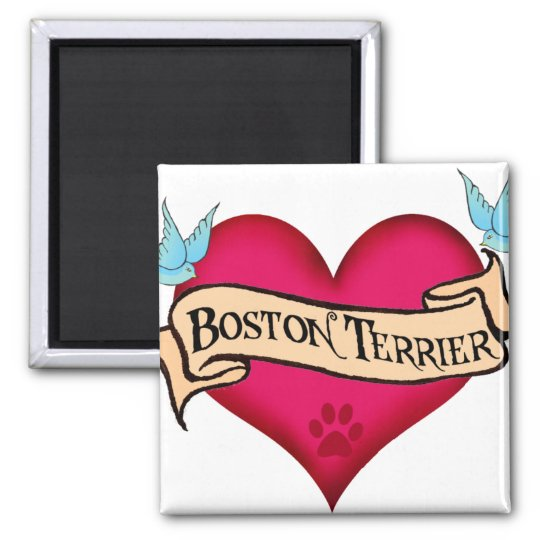Boston Terrier Tattoo Heart Magnet