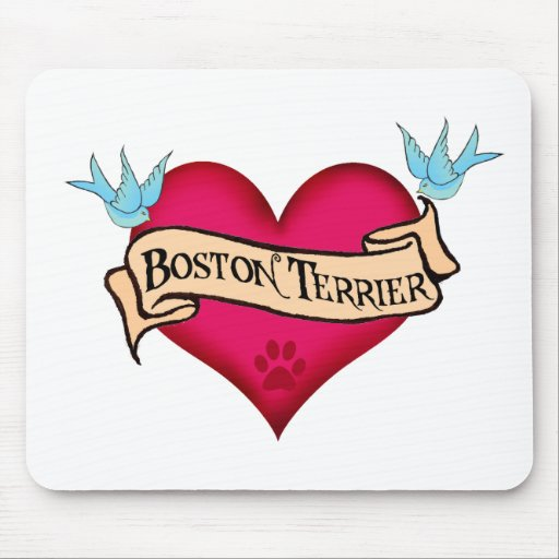 Boston Terrier Tattoo Heart Mouse Pad