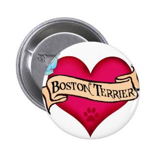 Boston Terrier Tattoo Heart Pinback Button